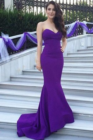 Satin Sweetheart Sleeveless Sweep Train Mermaid Bridesmaid Dress - 1