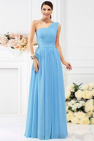 Pleated Long A-Line One Shoulder Bridesmaid Dress - 3