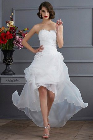 Appliques Organza Lace-up Sweetheart Natural Waist Wedding Dress - 1