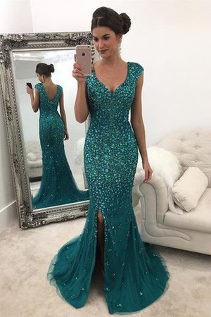 Tulle Sequins Natural Waist Sweep Train Princess Prom Dress - 1