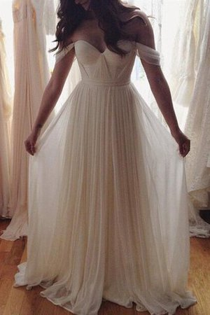 Chiffon A-Line Beading Natural Waist Wedding Dress - 1