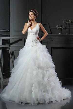 Empire Waist V-Neck Organza Ball Gown Sleeveless Wedding Dress - 1