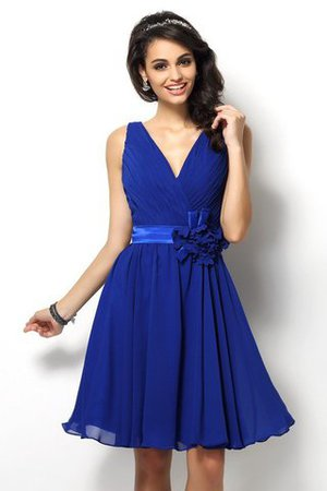 Draped A-Line V-Neck Natural Waist Bridesmaid Dress - 1