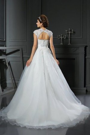 Appliques Zipper Up Long Ball Gown Square Wedding Dress - 2