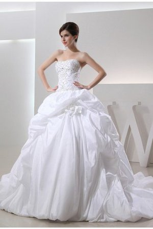 Lace-up Strapless Beading Long Cathedral Train Wedding Dress - 1