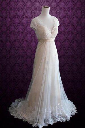Short Sleeves Sweep Train A-Line Sashes Wedding Dress - 1