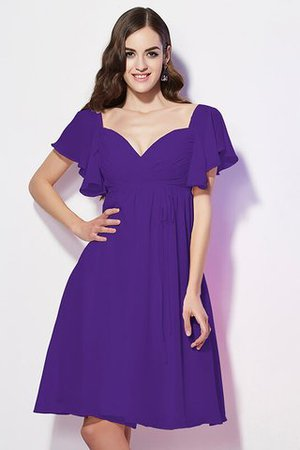Ruffles Knee Length Short Sleeves Sweetheart Bridesmaid Dress - 25