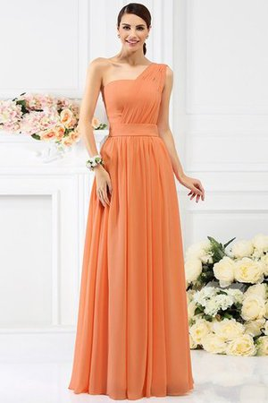 Pleated Long A-Line One Shoulder Bridesmaid Dress - 20