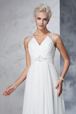 Chiffon Empire Waist Long Sweep Train A-Line Wedding Dress - 7