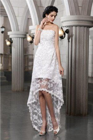 Lace Beading High Low Strapless Sheath Wedding Dress - 1