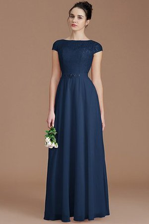 Floor Length Lace Chiffon Natural Waist Zipper Up Bridesmaid Dress - 15