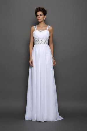 Empire Waist Sleeveless Long Court Train Chiffon Wedding Dress - 1