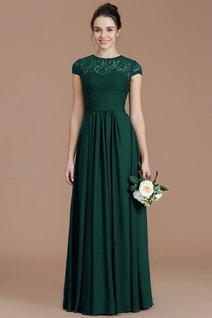 Chiffon Floor Length A-Line Jewel Short Sleeves Bridesmaid Dress - 15