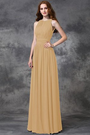 Sleeveless Ruched Natural Waist Chiffon Long Bridesmaid Dress - 13