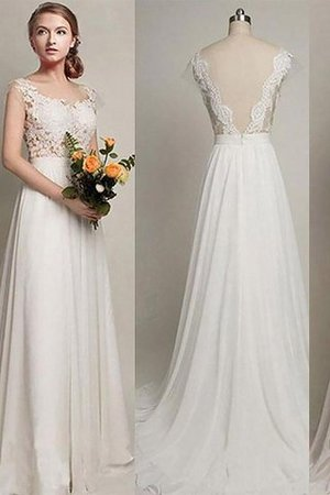 Sleeveless Chiffon A-Line Scoop Wedding Dress - 1