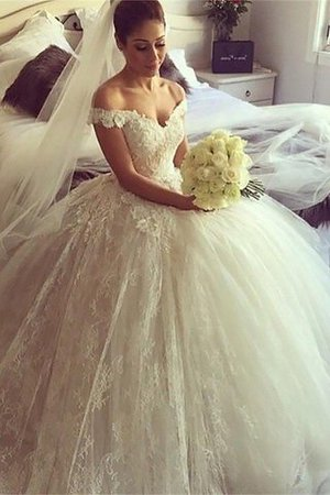 Sleeveless Natural Waist Lace Off The Shoulder Ball Gown Wedding Dress - 2