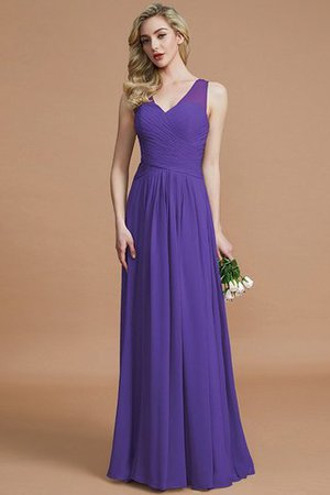 Natural Waist Floor Length A-Line V-Neck Bridesmaid Dress - 29