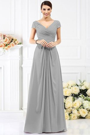 Long Empire Waist Pleated A-Line Short Sleeves Bridesmaid Dress - 27