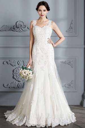 Mermaid Sweetheart Sleeveless Lace Court Train Wedding Dress - 3