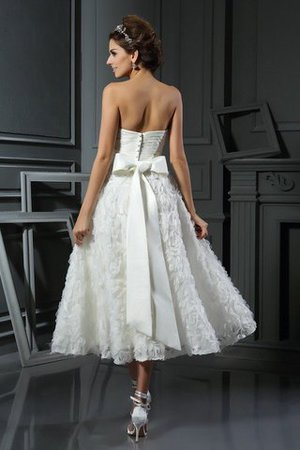 Empire Waist A-Line Accented Bow Tea Length Wedding Dress - 2