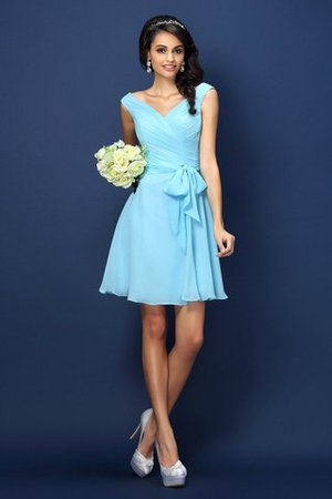 Zipper Up A-Line V-Neck Short Bridesmaid Dress - 1
