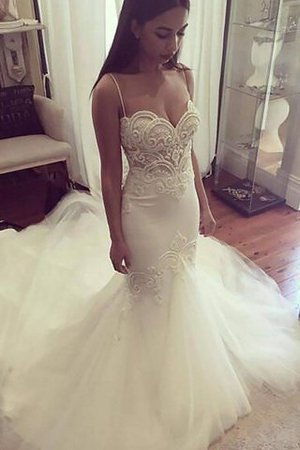 Natural Waist Sleeveless Mermaid Spaghetti Straps Chapel Train Wedding Dress - 1