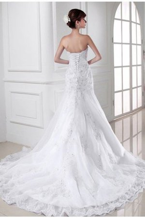 Organza Empire Waist Appliques Sweetheart Mermaid Wedding Dress - 2