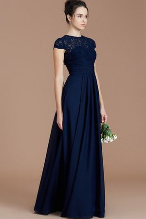 Chiffon Floor Length A-Line Jewel Short Sleeves Bridesmaid Dress - 4