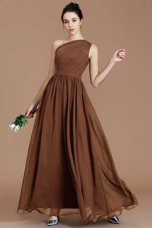 Floor Length Natural Waist Chiffon Ruched One Shoulder Bridesmaid Dress - 8