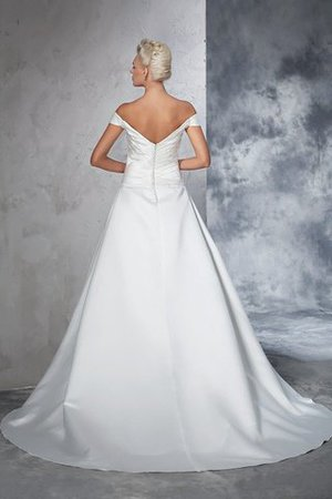 Long Taffeta Ball Gown Natural Waist Ruched Wedding Dress - 2