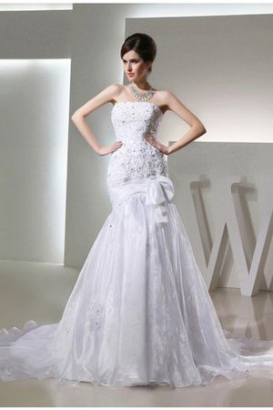 Mermaid Long Beading Strapless Appliques Wedding Dress - 1