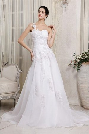 One Shoulder Chapel Train Princess Organza Empire Waist Wedding Dress - 1