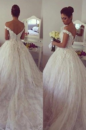 Sleeveless Natural Waist Lace Off The Shoulder Ball Gown Wedding Dress - 1