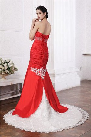 Appliques Court Train Taffeta Empire Waist Long Wedding Dress - 2