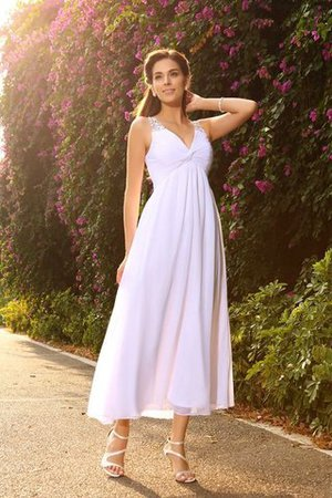 Chiffon Empire Waist V-Neck Princess Sleeveless Wedding Dress - 1