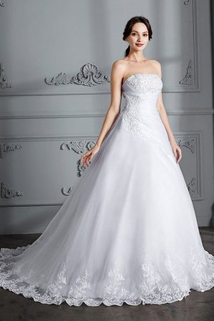 Ball Gown Natural Waist Organza Sleeveless Court Train Wedding Dress - 4