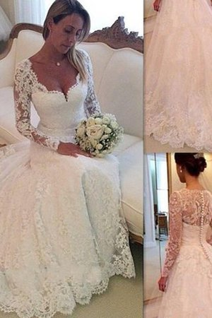 Tulle Natural Waist Long Sleeves V-Neck Lace Wedding Dress - 1