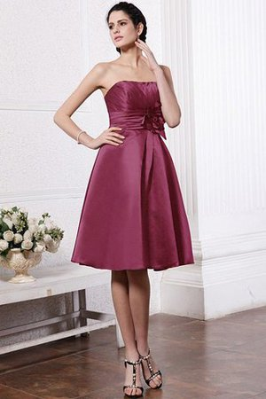 Zipper Up Princess Short Flowers Pleated Bridesmaid Dress - 4