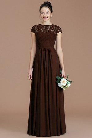 Chiffon Floor Length A-Line Jewel Short Sleeves Bridesmaid Dress - 13