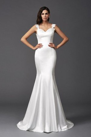 Mermaid Satin Wide Straps Sweep Train Natural Waist Wedding Dress - 5