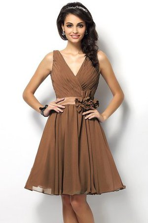 Draped A-Line V-Neck Natural Waist Bridesmaid Dress - 4