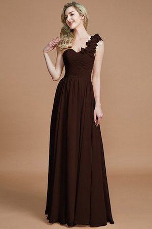 Sleeveless Natural Waist One Shoulder A-Line Chiffon Bridesmaid Dress - 12