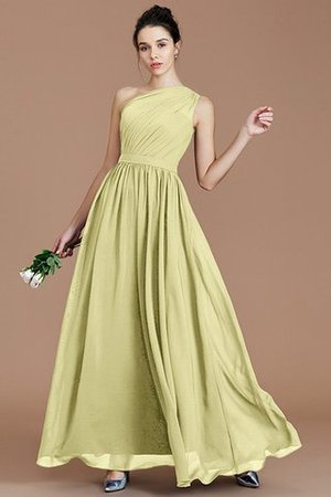 Floor Length Natural Waist Chiffon Ruched One Shoulder Bridesmaid Dress - 12