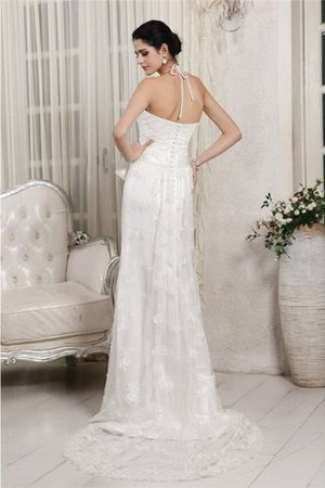 Appliques Zipper Up Lace Sweep Train Empire Waist Wedding Dress - 2