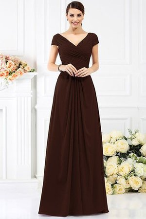 Long Empire Waist Pleated A-Line Short Sleeves Bridesmaid Dress - 7