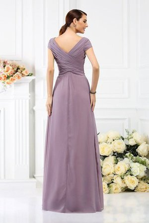 Long Empire Waist Pleated A-Line Short Sleeves Bridesmaid Dress - 30