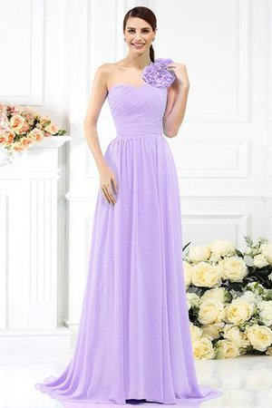 Chiffon A-Line One Shoulder Long Flowers Bridesmaid Dress - 17