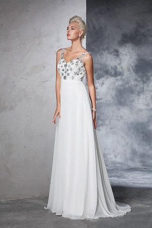 Sleeveless Empire Waist Sweep Train A-Line Long Wedding Dress - 5