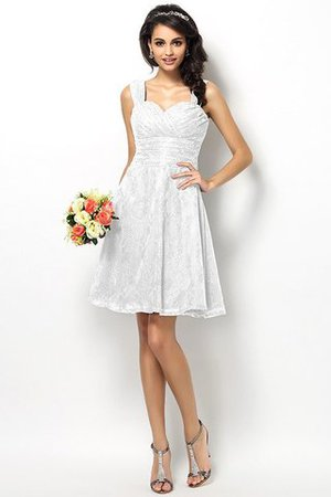 Wide Straps Short Sleeveless Natural Waist Satin Bridesmaid Dress - 29