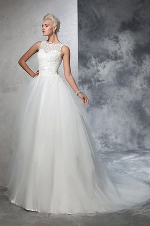 Chapel Train Bateau Empire Waist Appliques Ball Gown Wedding Dress - 3